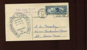 FEB 20-21 1928 CAM 2  LINDBERGH AIRMAIL POST CARD MILWAUKEE, CHICAGO & ST LOUIS