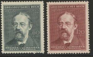 Stamp Germany Bohemia Czechoslovakia Mi 138-9 Sc B27-8 1944 WWII Smetana MH