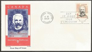 CANADA FDC.1968 HENRI BOURASSA 5C STAMP.FIRST DAY OF ISSUE COVER.JACKSON,CHICKER