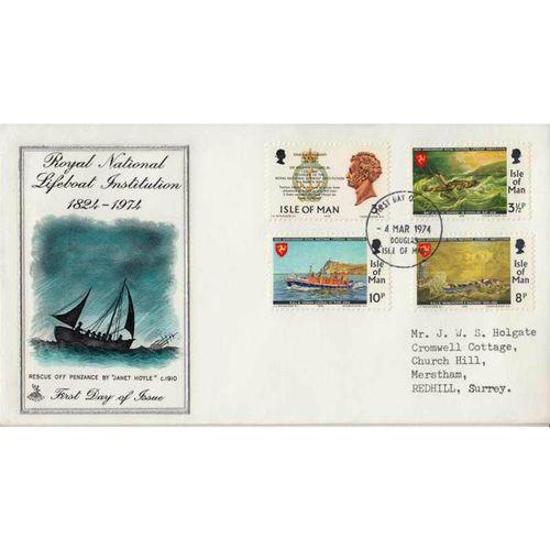 First Day Cover 4th March 1974 Royal National Lifeboat Institution 1824-1974 IOM