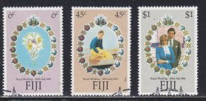Fiji # 442-444, Royal Wedding, Used, 1/2 Cat.