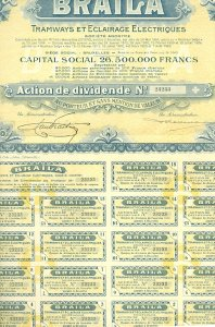 CAR- ELECTRIC TRAMWAYS STOCK CERTIFICATE.