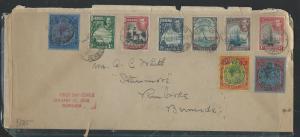 BERMUDA (P2906B) 1938  KGVI KEYPLATE 2/-+2/6+5/-+6 STAMPS FDC SENT TO PEMBROKE
