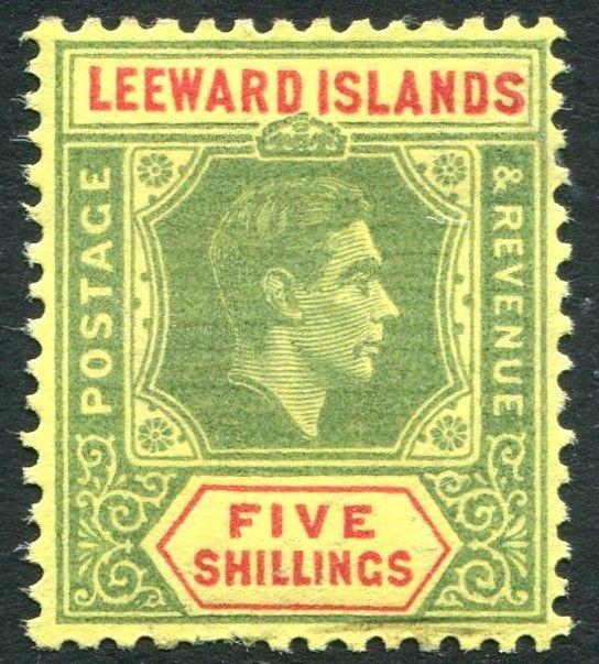 LEEWARD ISLANDS-1943 5/- Green & Red/Yellow Sg 112b LIGHTLY MOUNTED MINT V24688