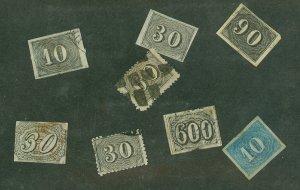 selection Brazil 1844-1860 Scott 8, 21, 23, 25, 37, 46 plus fake 28, 44 CV $141