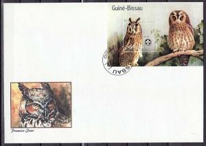 Guinea Bissau, Mi cat. 1464, BL113 A. Owls s/sheet. Large First day cover. ^