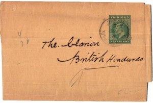 Trinidad 1/2d KEVII Wrapper 1906 Port of Spain, Trinidad to British Honduras.