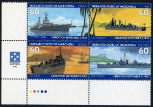 Micronesia 231 ad block,MNH.Michel 435-438. End of World War II50.1995.Warships.