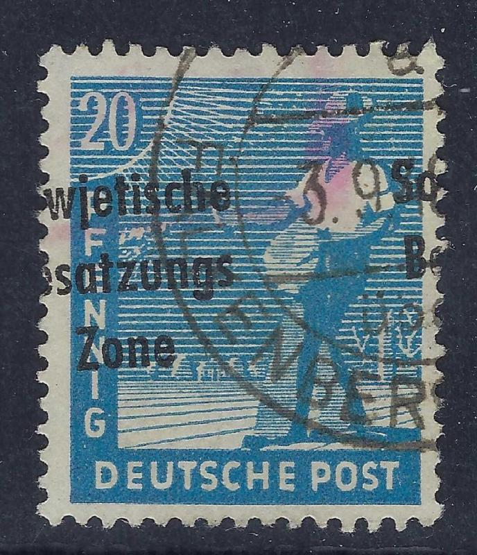 1948 Germany DDR Scott # 10N8 Error Variation On Overprint (V80)