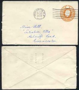 EP62 KGV 1920 2d Post Office Issue Envelope Size E USED RARE
