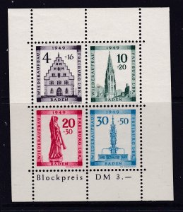 Germany French Zone Baden a 1949 Freiburg mini sheet UHM