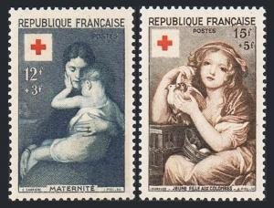 France B291-B292,MNH.Michel 1032-1033. Red Cross-1954.By Eugene Carriere,Greuze.