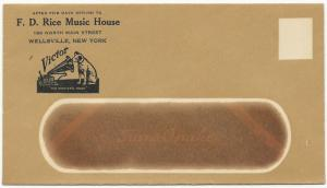 US Mint ADV Cover F.D. Rice Music House Wellsville, New York Pianos Victrolas