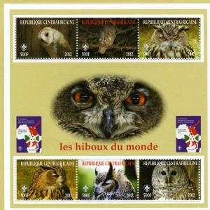 Central African Republic 2012 OWLS Sheet perforated mnh.vf