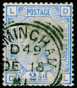 SG157, 2½d blue PLATE 22, USED, CDS. Cat £40. DL