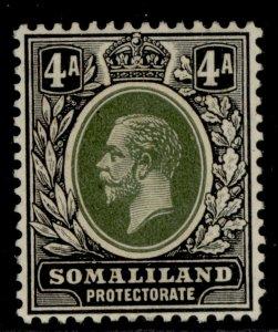 SOMALILAND PROTECTORATE GV SG78, 4a green & black, M MINT.