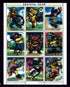 Mongolia 2330M MNH 1998 Grateful Dead sheet of 9