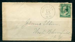 US WALWORTH, NY 11/14/1887 3-C GREEN WASHINGTON COVER TO W. BLOOMFIELD AS SHOWN