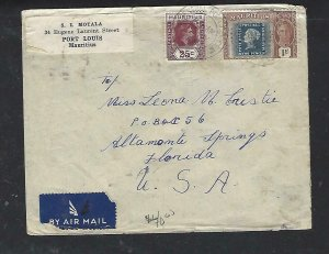MAURITIUS COVER (P1311B) 1948 KGVI 25C+ STAMP CENT 1R A/M TO USA