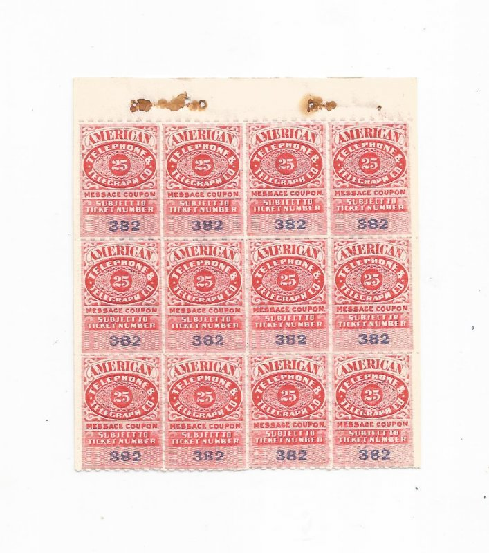 1906 AMERICAN TELEPHONE & TELEGRAPH 25 CENT MESSAGE COUPON, BLOCK OF 12