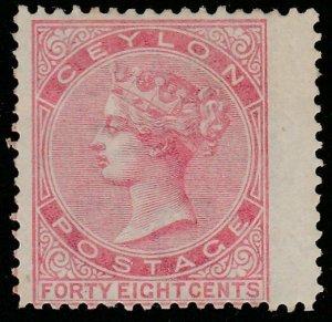 CEYLON 1872 48c Rose SG130 mint wing margin example........................65664