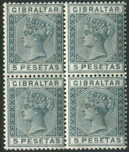 GIBRALTAR-1859 5p Slate-Grey.  An unmounted mint block of 4 Sg