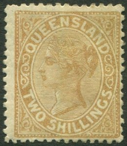 QUEENSLAND-1887-89 2/- Pale Brown.  A mounted mint example Sg 182