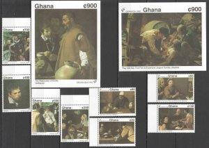 J0133 1992 GHANA ART PAINTINGS VELAZQUEZ #1684-93 MICHEL 30 EURO 2BL+1SET MNH