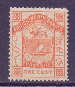 North Borneo Scott 26 - SG24, 1886 Postage 1c MH*