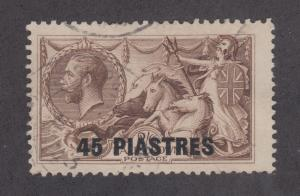 Great Britain, Turkey Sc 62 used 1921 45p on 2sh6p KGV & Seahorses F-VF