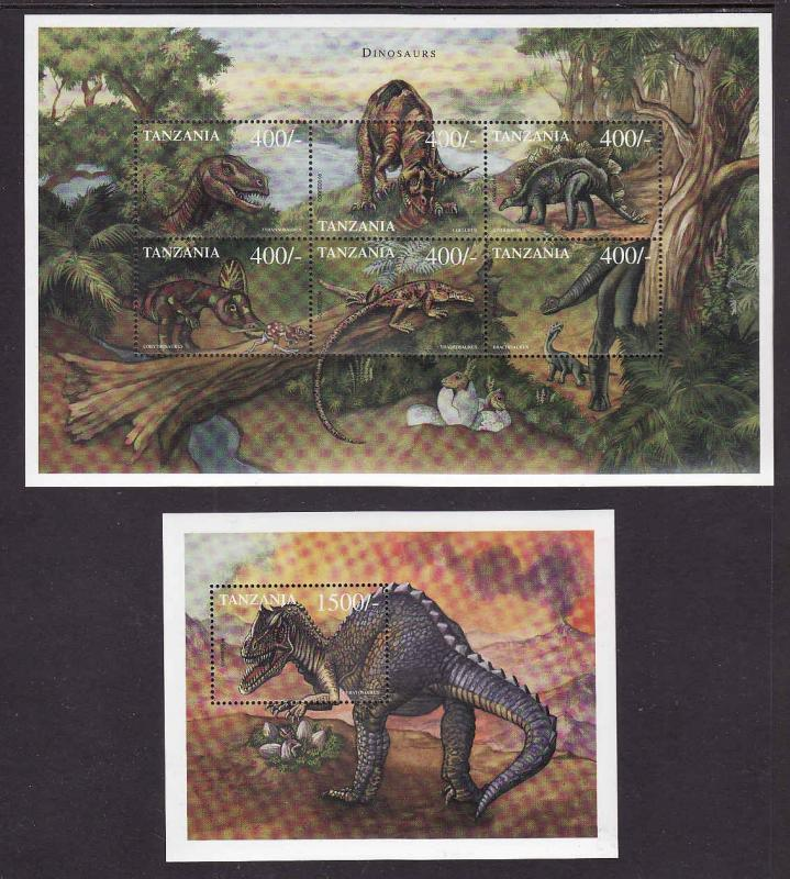 Tanzania-Sc#1986-7-two Unused NH sheets-Dinosaurs-Prehistoric Animals-1999-