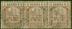 Mauritius 1910 2c Brown SG182w Wmk Inverted Fine Used Strip of 3 Scarce Multiple
