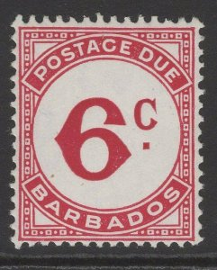 BARBADOS SGD6a 1953 6c CARMINE CHALKY PAPER POSTAGE DUE MNH