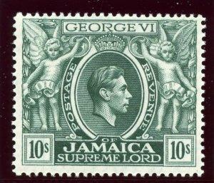 Jamaica 1938 KGVI 10s myrtle-green (p14) MLH. SG 133. Sc 128.