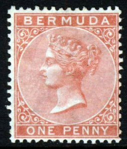 BERMUDA Queen Victoria 1865 One Penny Pale Rose Watermark Crown CC SG 2 MINT