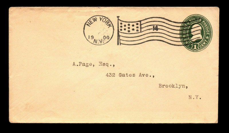 1900 New York 14 Flag Machine Cancel - L9810