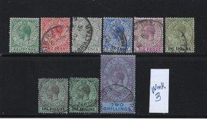 GIBRALTAR SCOTT #66- 71B-72  1912 GEORGE V SHORT SET -WMK 3- USED
