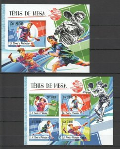 ST1786 2016 S. TOME & PRINCIPE SPORT TABLE TENNIS PING PONG 1KB+1BL MNH STAMPS