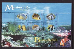 BIOT-Sc#323-unused NH sheet-Marine Life-Butterflyfish-2006-7-