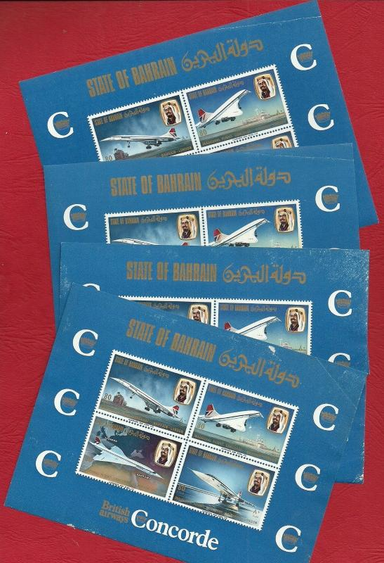 Bahrain1976 Lot # 92  -  MNH 4 MS Concorde 1st filght as per Scans Damage
