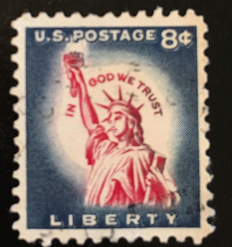 1042 Statue of Liberty, Dry print, Circulated Single, Vic's Stamp Stash