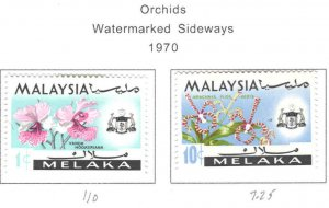 Malaysia Malacca Scott 67a,71a  MH* Orchid stamps wmk variety