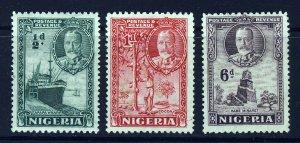 NIGERIA King George V 1936 Pictorial Group SG 34, SG 35 & SG 40 MINT & MNG
