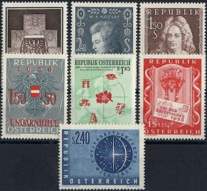 1956 Austria Complete Year Set VF/MNH, CAT 64$ pay only 15%