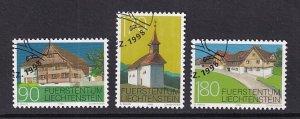 Liechtenstein   #1132-1134   cancelled    1998  older buildings