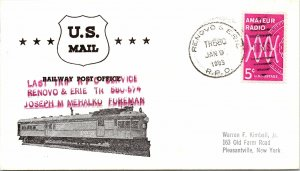 1965 Renovo & Eire R.P.O. Railway Post Office + Last Trip & Train Cachet #103