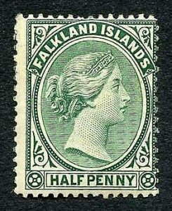 Falkland Is SG15 1/2d Blue-green M/M  cat 28 pounds