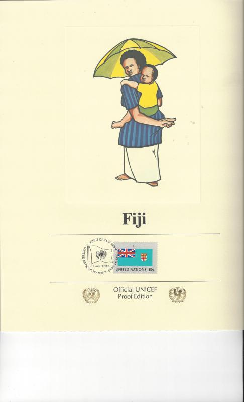 United Nations UNICEF Flag Proof Edition Panel Fiji 1980