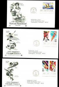 U.S. #2080, 2084, 2082 FIRST DAY COVERS