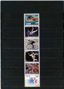 PARAGUAY 1984 SUMMER OLYMPIC GAMES LOS ANGELES STRIP OF 6 STAMPS MNH